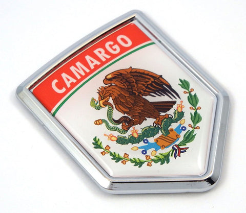 Camargo Mexico Flag Mexican Car Emblem Chrome Bike Decal 3D Sticker MX14