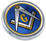 "Mason Masonic Blue Back Flag 2.75"" Car Chrome Round Emblem Decal 3D Badge"