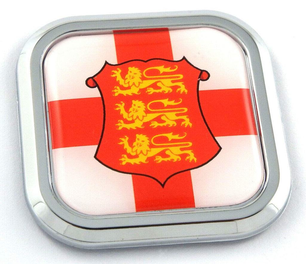 England Flag Square Chrome rim Emblem Car 3D Decal Badge Hood Bumper sticker 2""