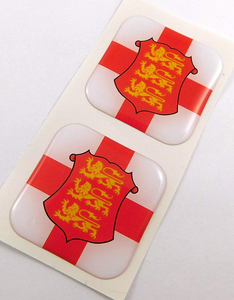 "England Flag Square Domed Decal car Bike Gel Stickers 1.5"" 2pc"