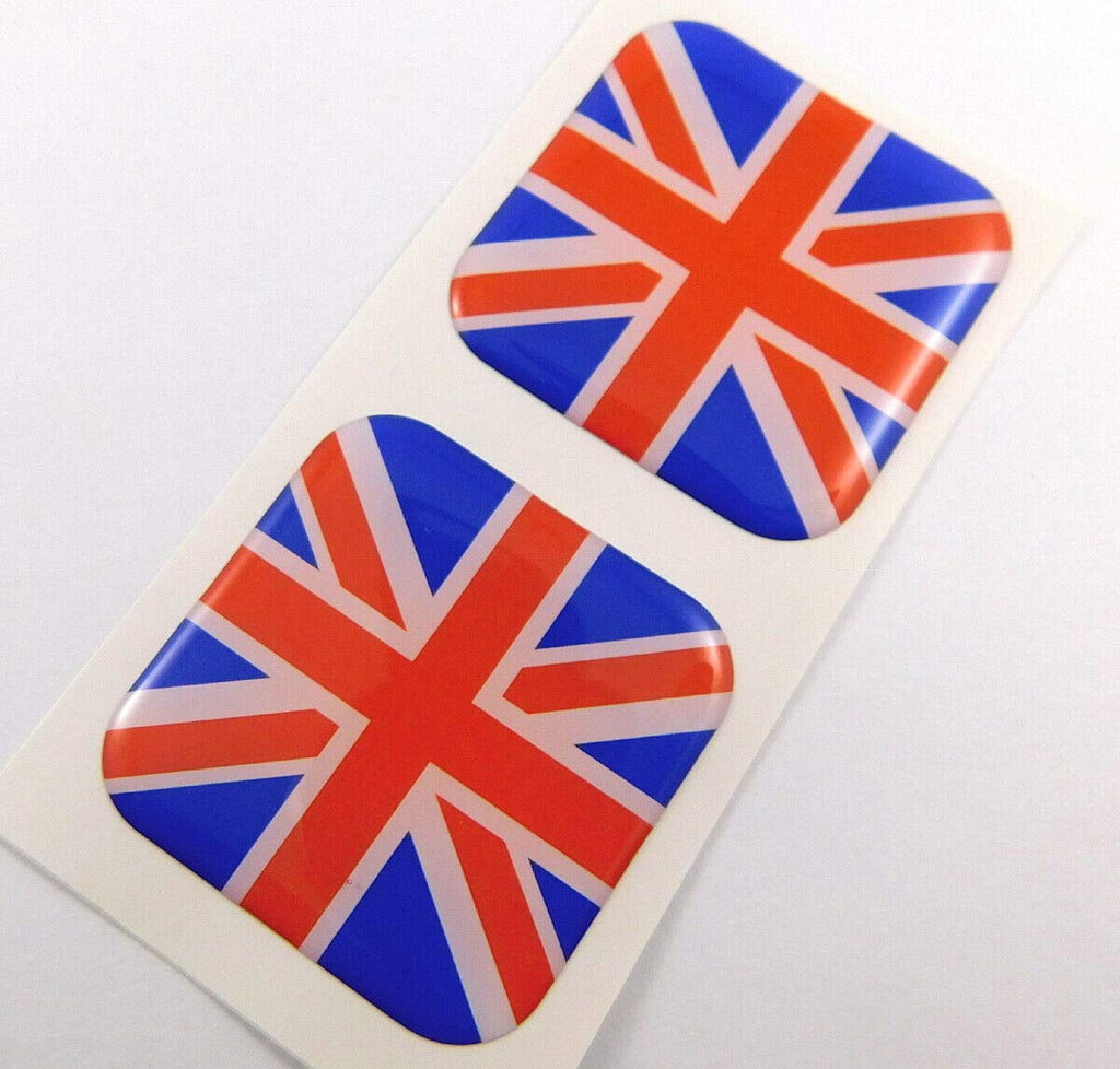 "Great Britain Brittish Flag Square Domed Decal car Bike Gel Stickers 1.5"" 2pc"