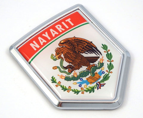 Nayarit Mexico Flag Mexican Car Emblem Chrome Bike Decal 3D Sticker MX20