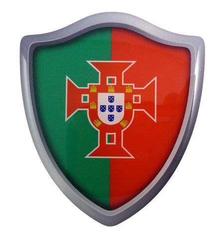 "Portugal Flag Shield Domed Decal 3D Look Emblem Resin car Sticker 2.6""x3"""