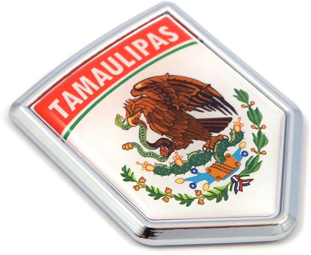 Tamaulipas Mexico Flag Mexican Car Emblem Chrome Bike Decal 3D Sticker MX8