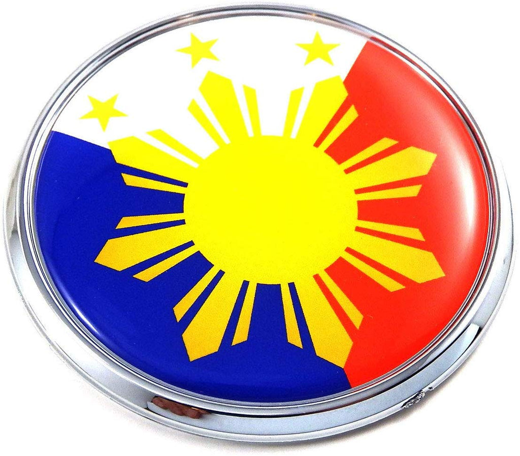 "Philippine Philippines Flag 2.75"" Car Chrome Round Emblem Decal 3D Sticker Badge"