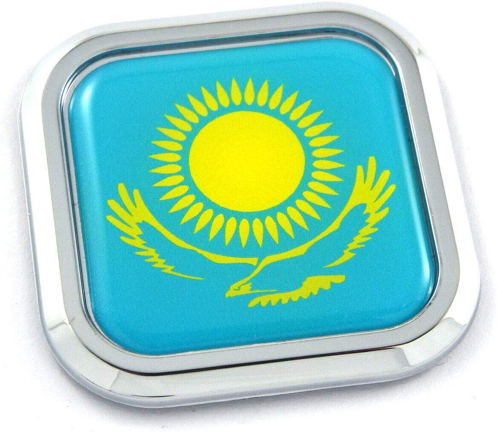 Kazakhstan Flag Square Chrome rim Emblem Car 3D Decal Badge Bumper sticker 2""