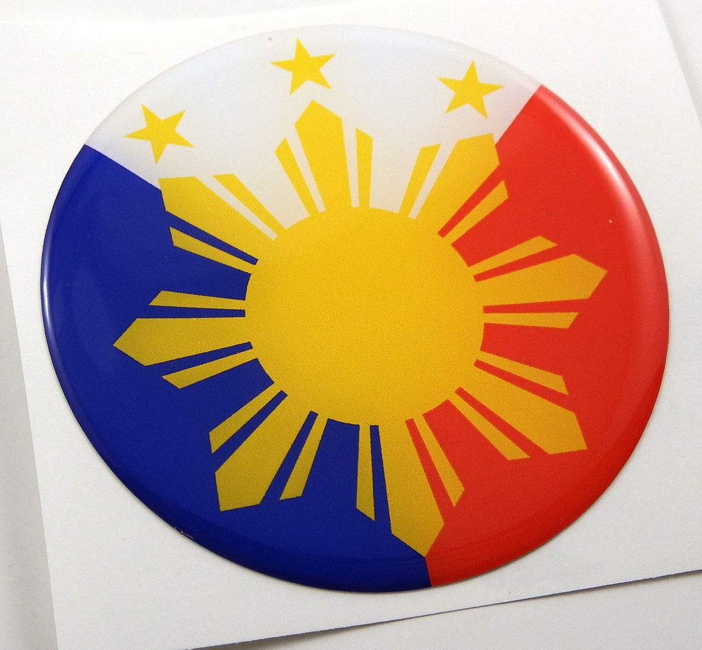 Philippines Philippine Flag Round Domed Decal Emblem Car Bike 3D Sticker 2.44""