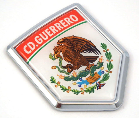 MX3 CD Guerrero Mexico Flag Mexican Car Emblem Chrome Bike Decal 3D Sticker
