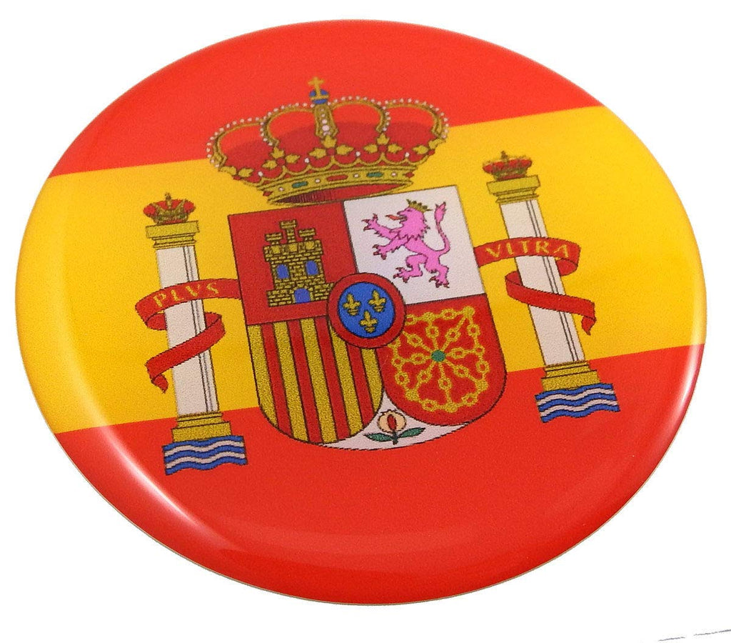 Spain Spanish Flag Round Domed Decal Emblem Car Bike 3D Sticker 2.44""