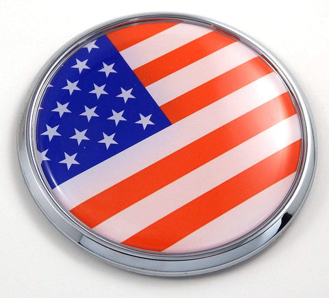 "USA American Flag 2.75"" Car Chrome Round Emblem Decal 3D Badge"