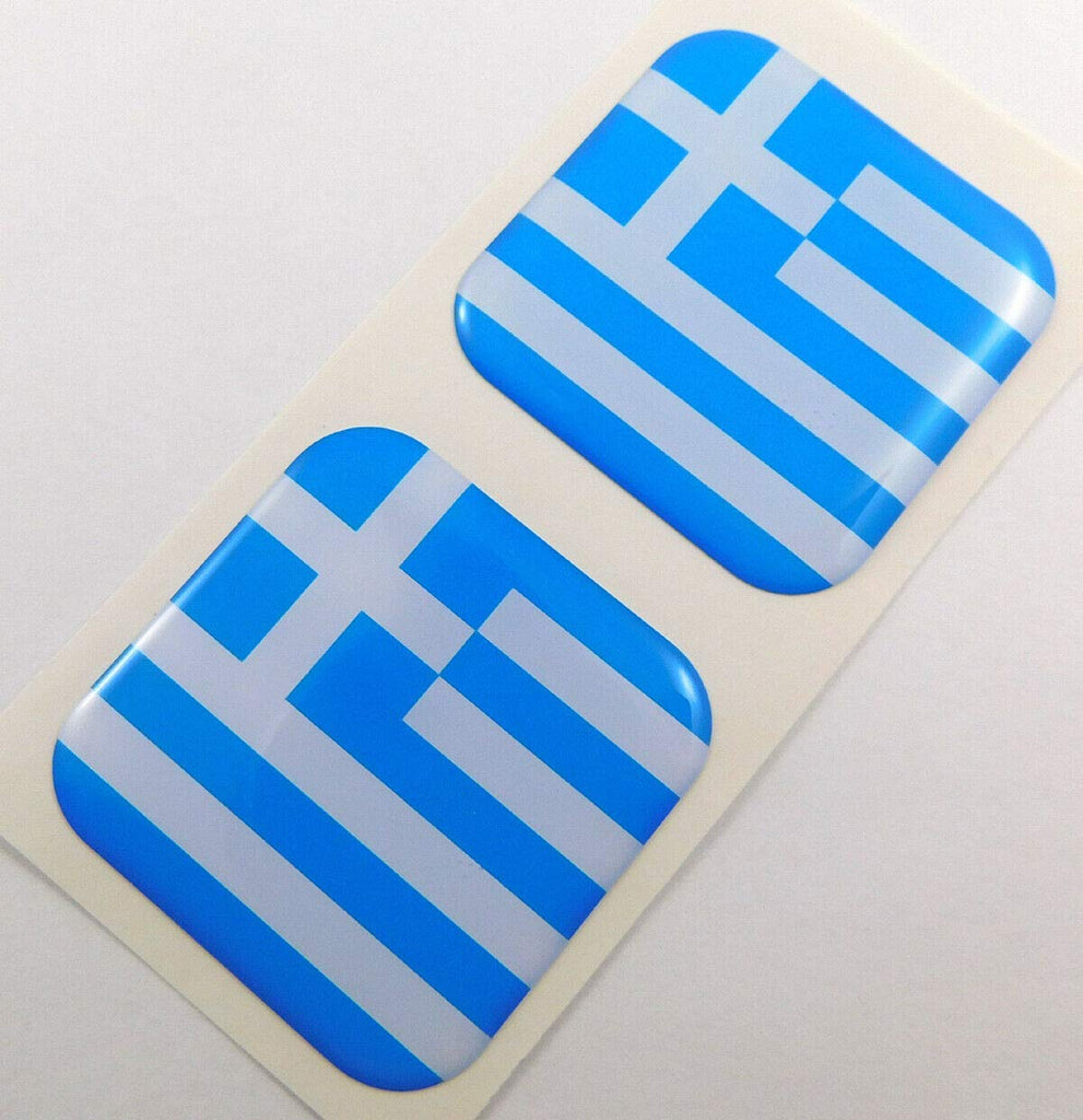 "Greece Greek Flag Square Domed Decal car Bike Gel Stickers 1.5"" 2pc"