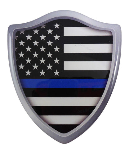 "USA Police Thin Blue line Flag Shield Domed Decal 3D Look Emblem car 2.6""x3"""