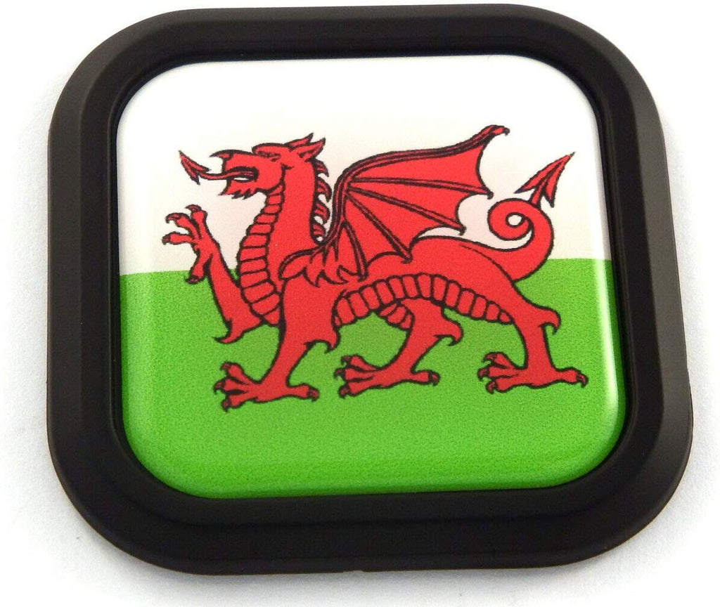 Wales Flag Square Black rim Emblem Car 3D Decal Badge Hood Bumper sticker 2""