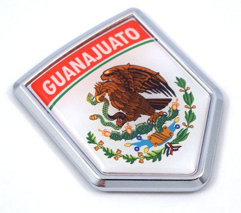 Guanajuato Mexico Flag Mexican Car Emblem Chrome Bike Decal 3D Sticker MX26
