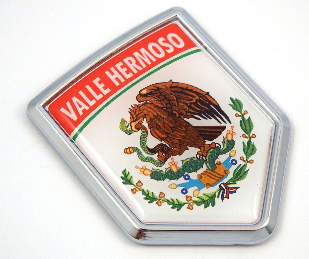 Valle Hermoso Mexico Flag Mexican Car Emblem Chrome Bike Decal 3D Sticker MX11