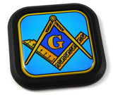 Mason Masonic symbol blue Square Black rim Emblem Car 3D Decal Badge Bumper 2""