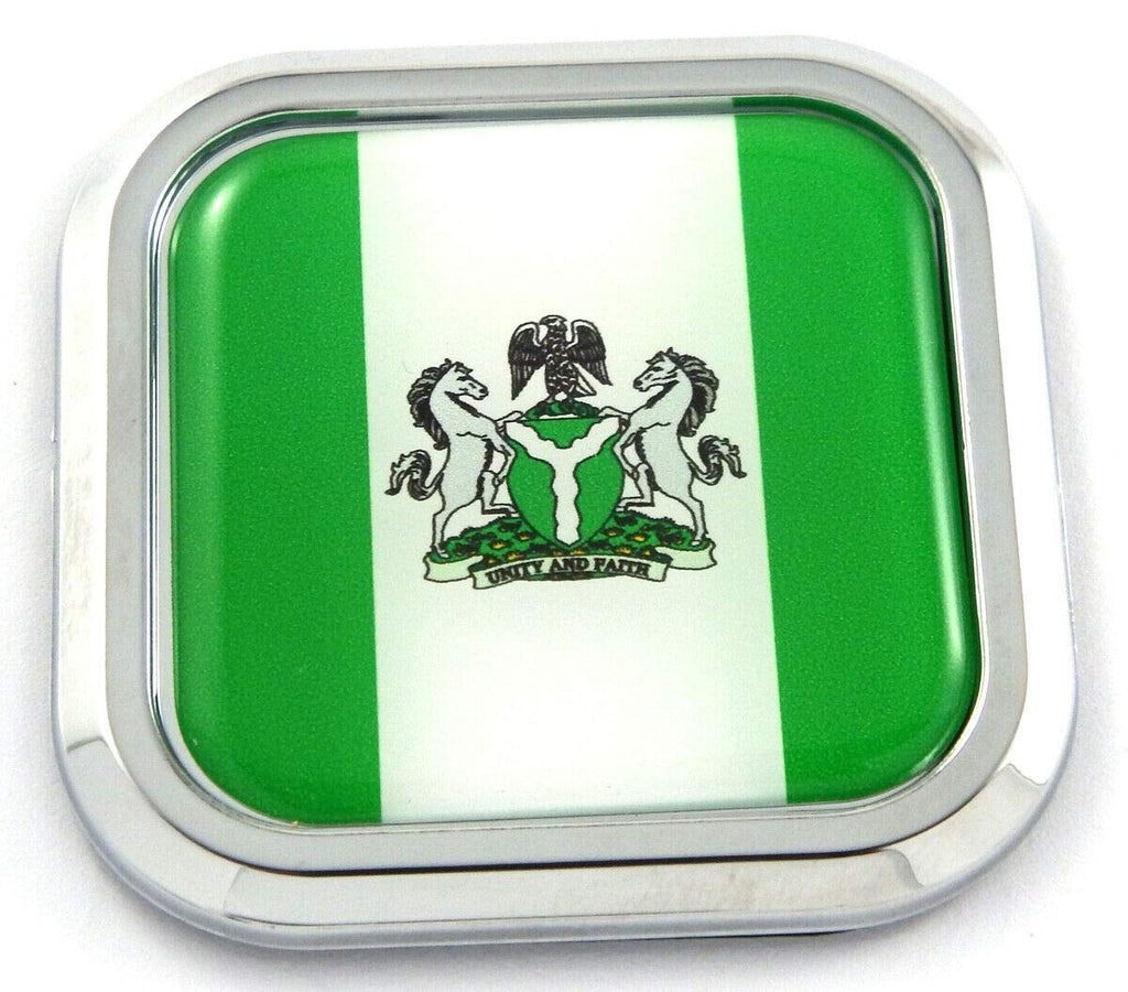 Nigeria Flag Square Chrome rim Emblem Car 3D Decal Badge Hood Bumper sticker 2""