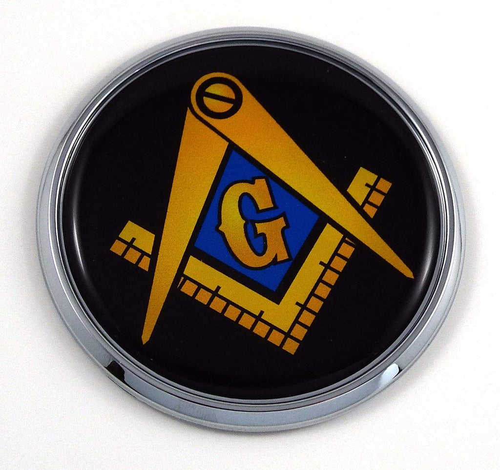 "Mason Masonic Black Back Flag 2.75"" Car Chrome Round Emblem Decal 3D Badge"