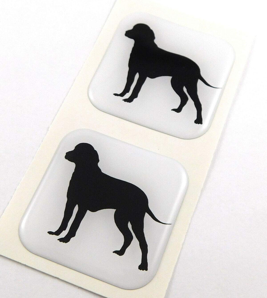 "Dog Pet Flag Square Domed Decal Emblem car Bike Gel Stickers 1.5"" 2pc."