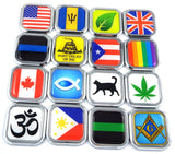 Hong Kong Flag Square Chrome rim Emblem Car 3D Decal Badge Hood Bumper sticker2""
