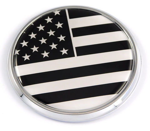 USA America American flag black and white Car Chrome Round Emblem Decal 3D Badge 2.75""