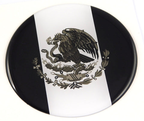 Mexico Mexican Flag black and white Round Domed Decal Emblem Car Bike 2.44""