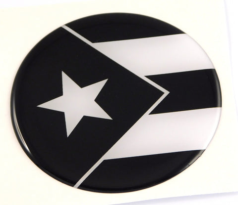 Puerto Rico Flag black and white Round Domed Decal Emblem Car Bike 2.44""