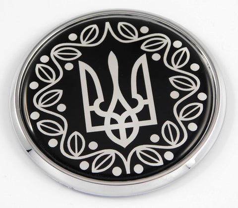 Ukraine Ukrainian Trident Tryzub black and white Car Chrome Round Emblem Decal 3D Badge 2.75""