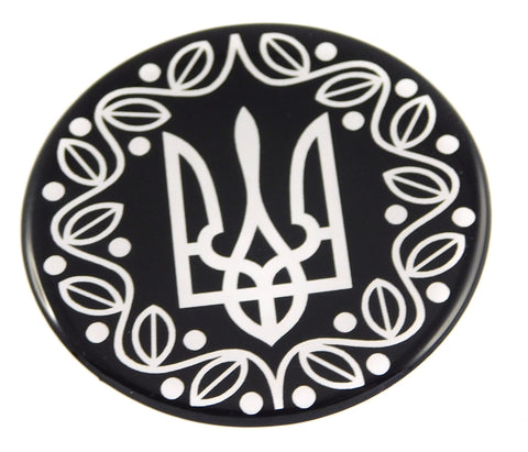 Ukraine Ukrainian Trident Tryzub black and white Round Domed Decal Emblem Car Bike 2.44""
