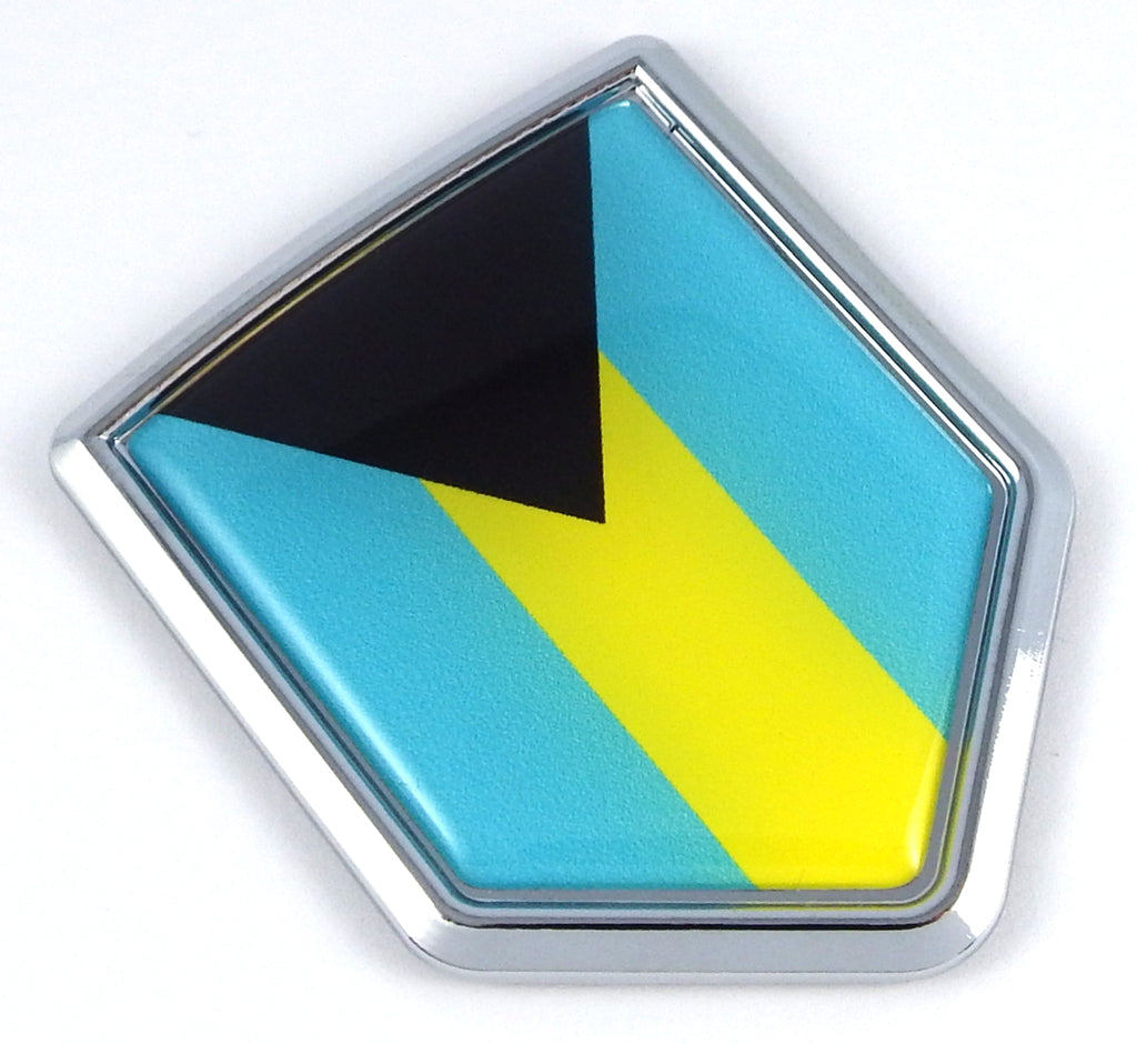 Bahamas Flag Bahamian Emblem Chrome Car Decal Sticker badge