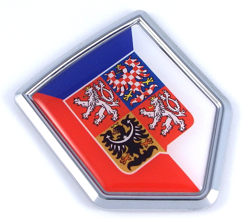 Czech republic Flag Car Chrome Emblem 3D Decal Sticker shield crest