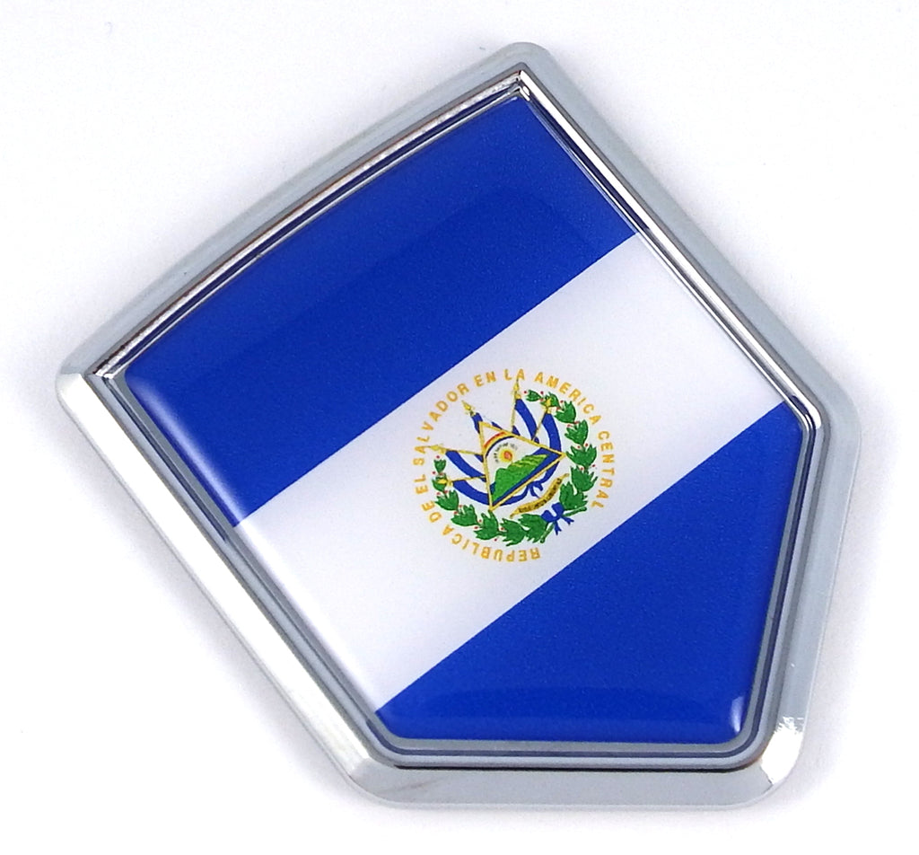 El Salvador Flag Car Chrome Emblem Decal Stick
