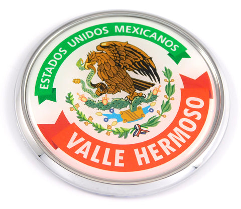 Valle Hermoso Mexico Mexican State Car Chrome Round Emblem Decal 3D Badge 2.75""