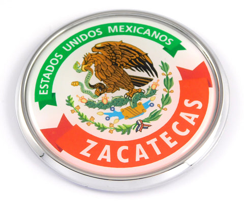 Zacatecas Mexico Mexican State Car Chrome Round Emblem Decal 3D Badge 2.75""