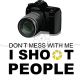 "image of camera with text ""i shoot people"""