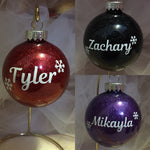 Snowflake Name 70mm Round Glass Ornament