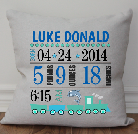 Baby Birth Announcement Pillow - Boy
