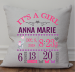 Baby Birth Announcement Pillow - Girl