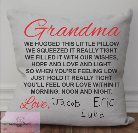 V1. Custom Grandparent Pillow with Kids Printing