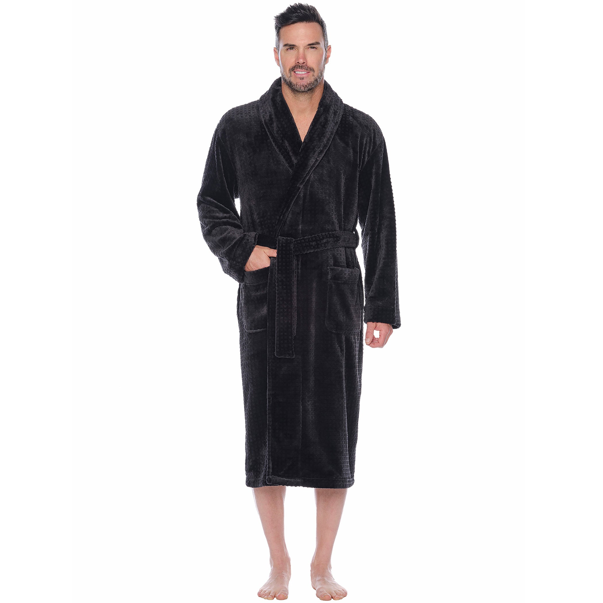Snowball Solid Plush Fleece Shawl Robe