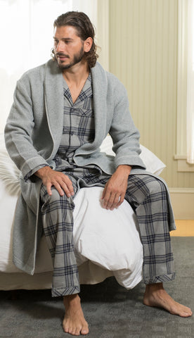 Cotton Long Sleeve Pajama In Blue Plaid