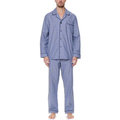 Big And Tall Cotton Long Sleeve Pajama In Navy Stripe