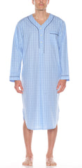Cotton Nightshirt In Lt Blue Check