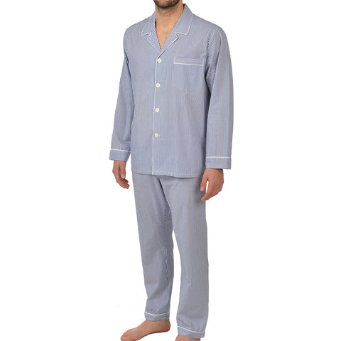 Cotton Long Sleeve Pajama In Navy Stripe