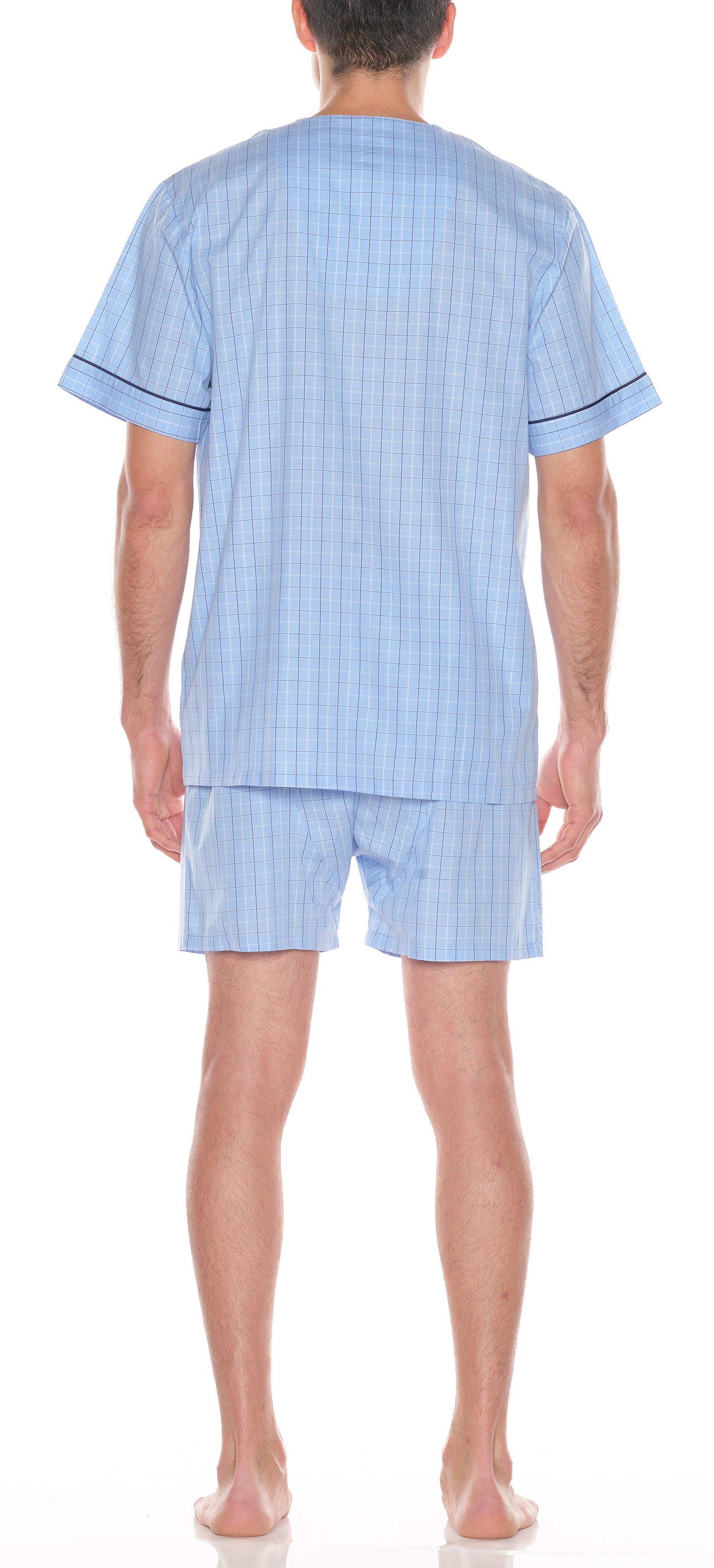 Cotton Shorty Pajama In Lt Blue Check