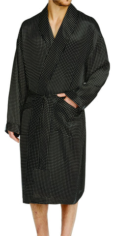 Black Stripe Silk Shawl Robe