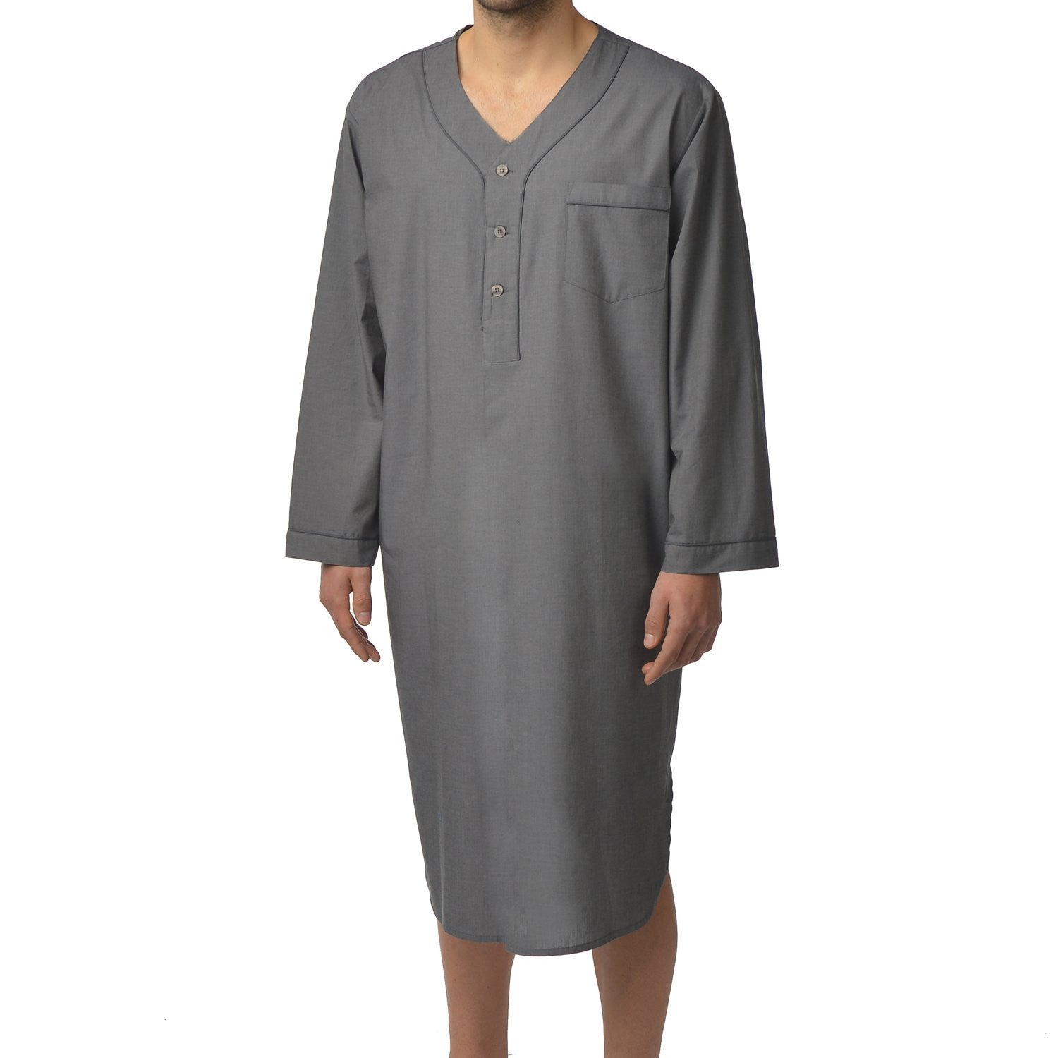 Cotton Nightshirt In Charcoal