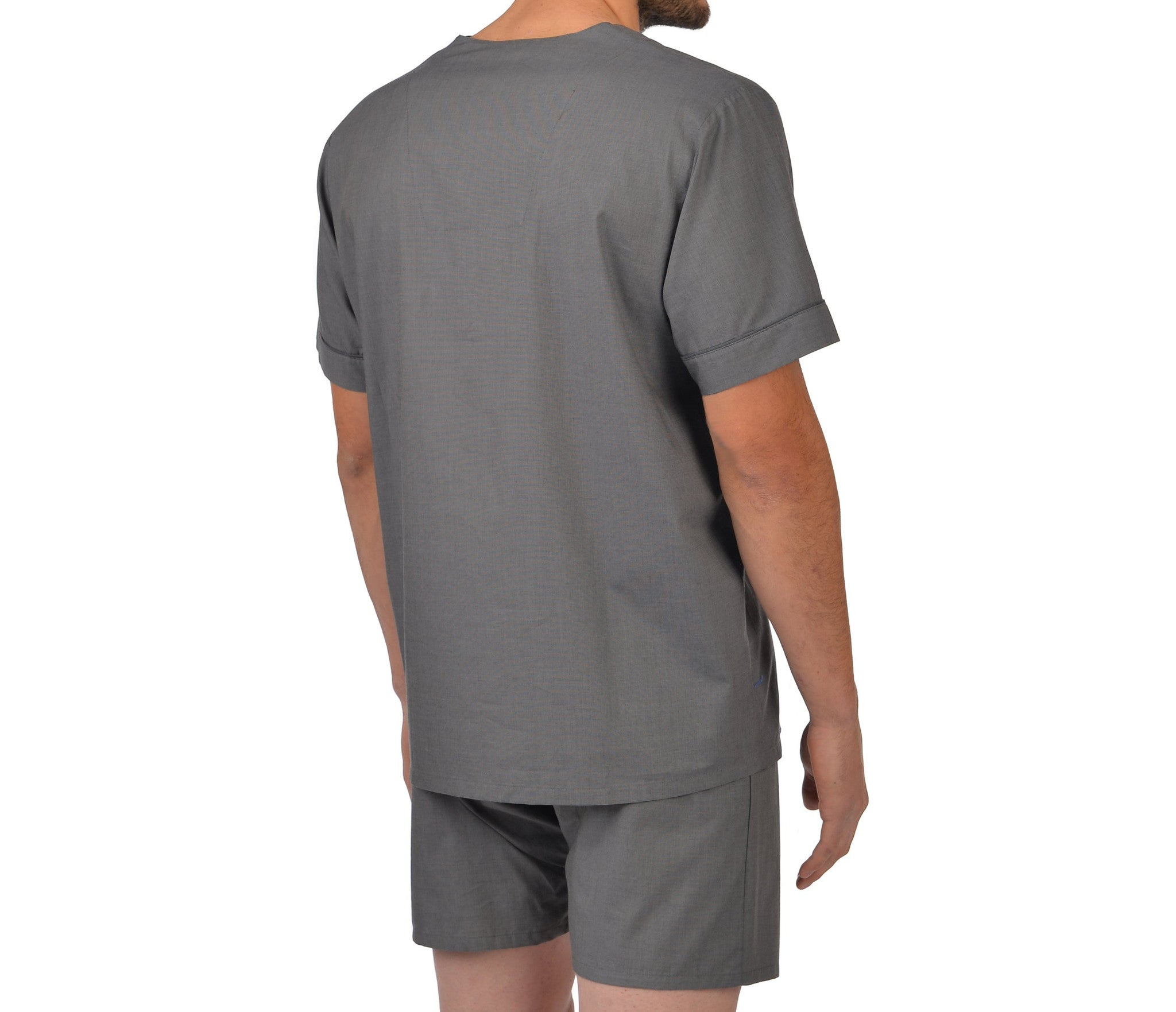Cotton Shorty Pajama In Charcoal