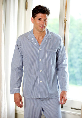 Cotton Long Sleeve Pajama In Blue