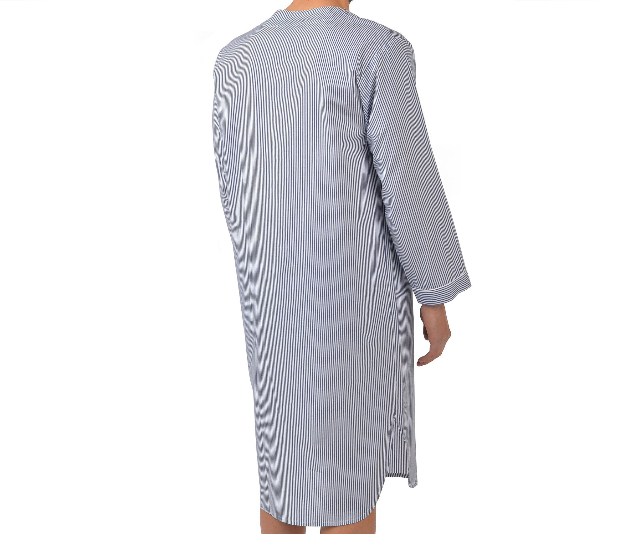 Cotton Nightshirt In Navy Stripe